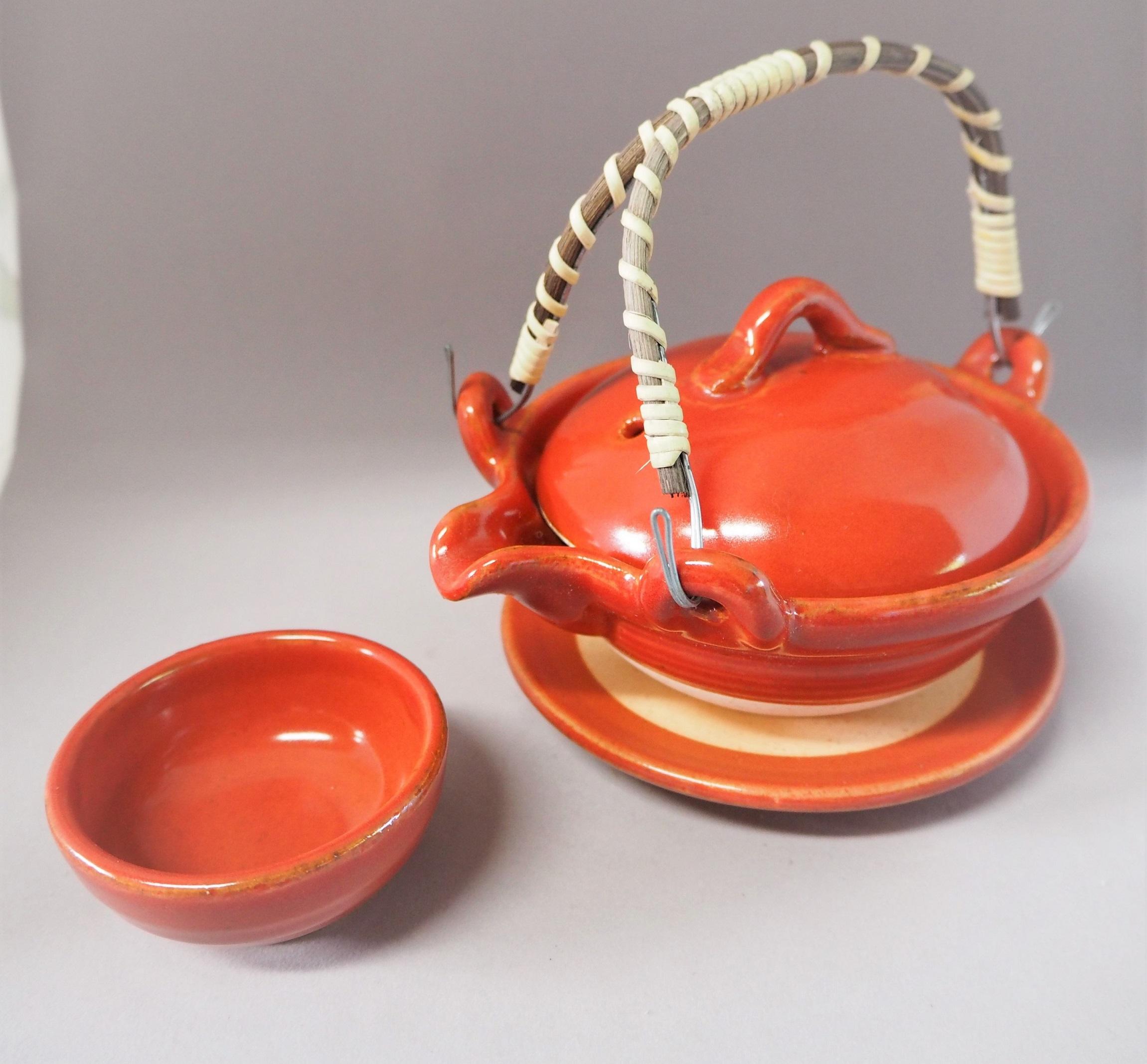 赤楽土瓶蒸台皿、千代口付【有田焼】