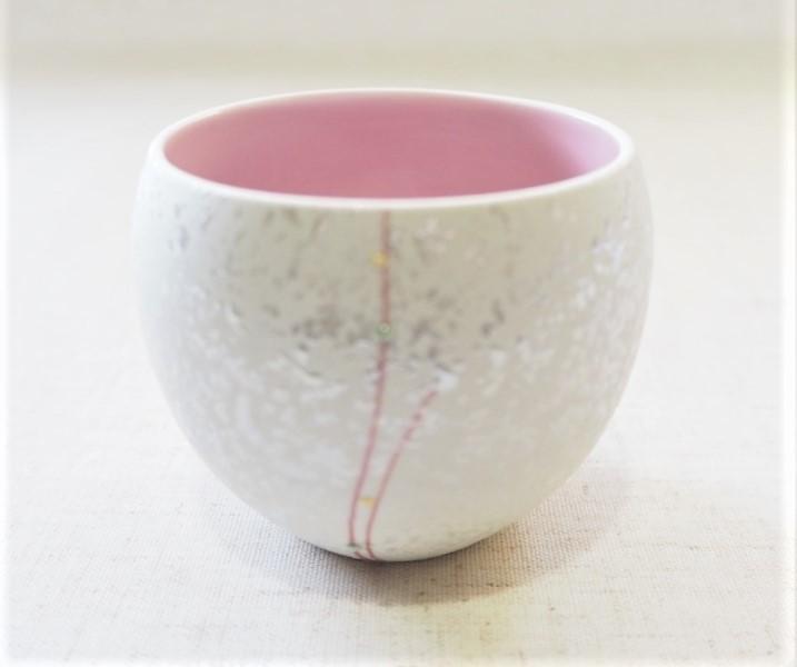 内ピンク赤一珍水玉ラスター小鉢【有田焼】