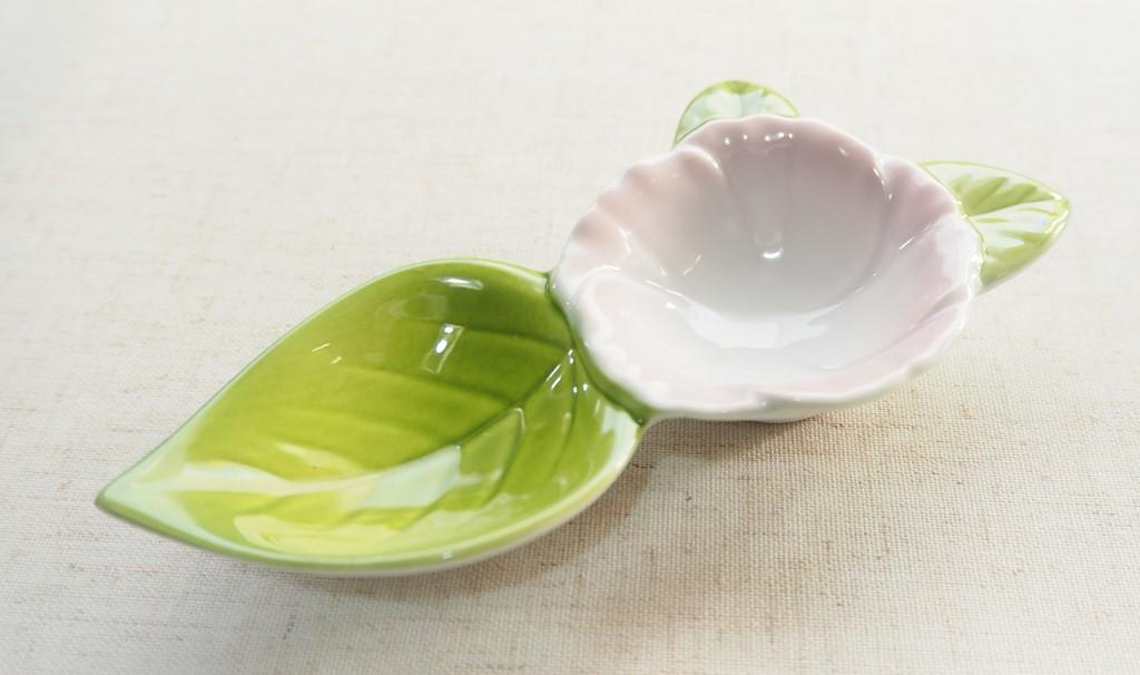 紅吹柚子グリーン花型二種盛珍味【有田焼】