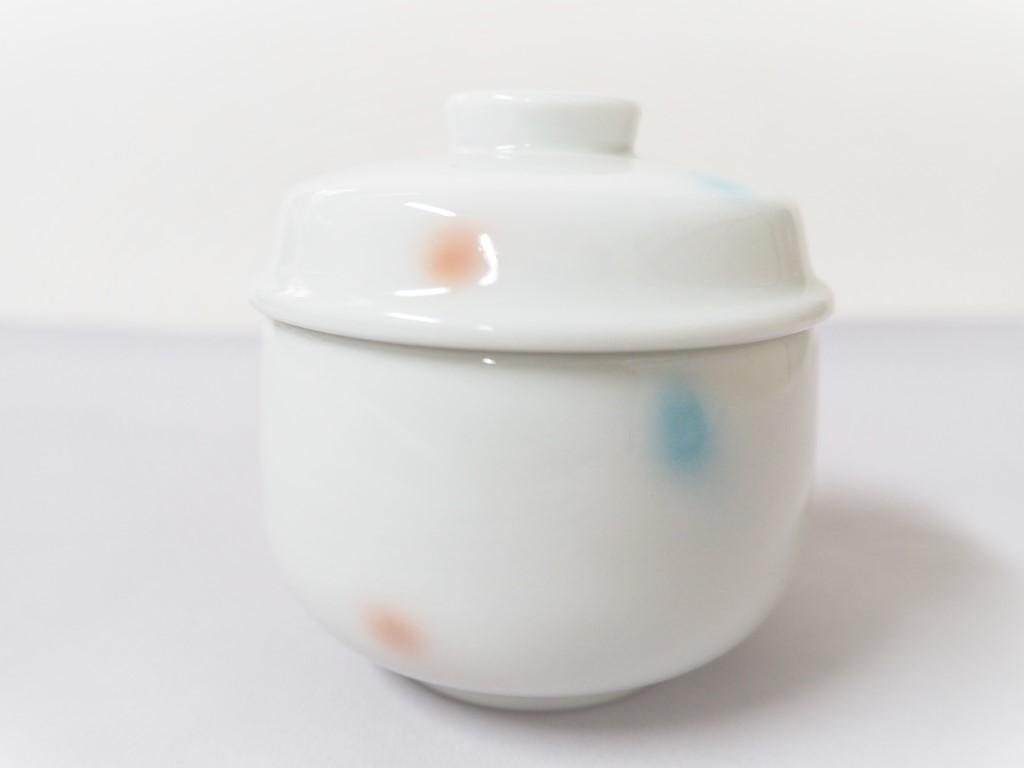 【有田焼】水玉二色吹ブルーピンクむし碗