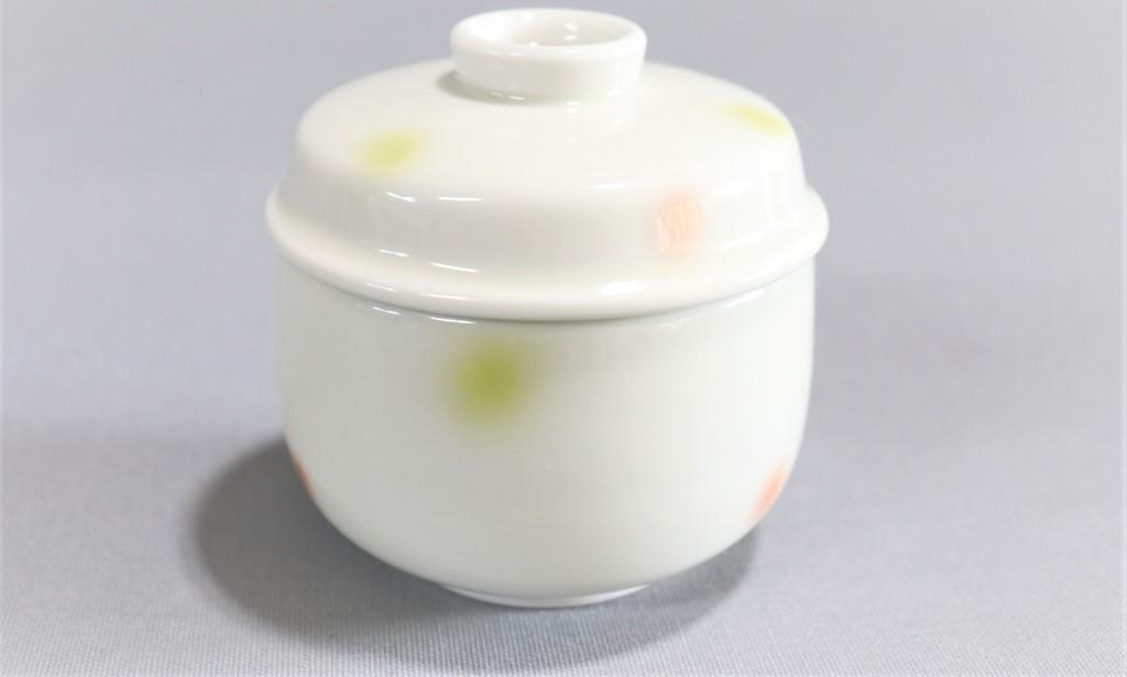 【有田焼】水玉二色吹グリーンピンクむし碗
