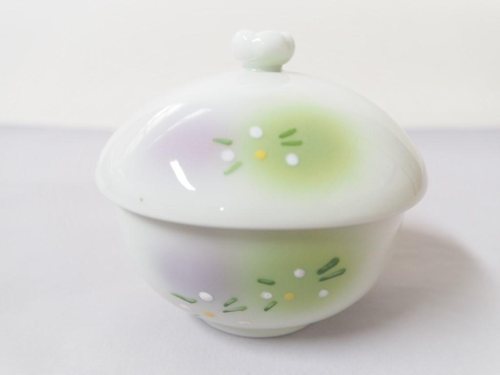 【有田焼】二色吹白花 楕円むし碗