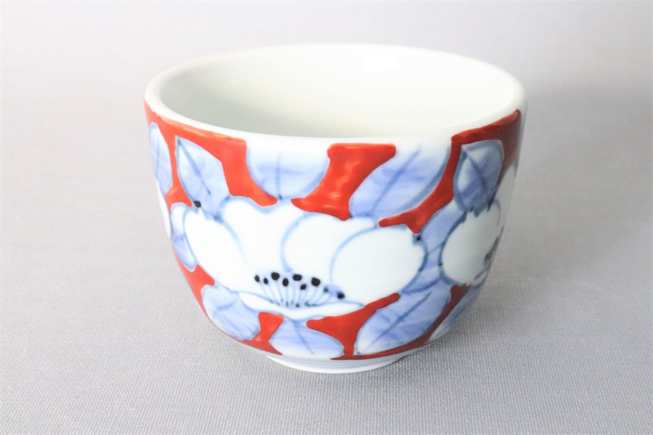 【有田焼】染錦赤濃椿丸小鉢 大