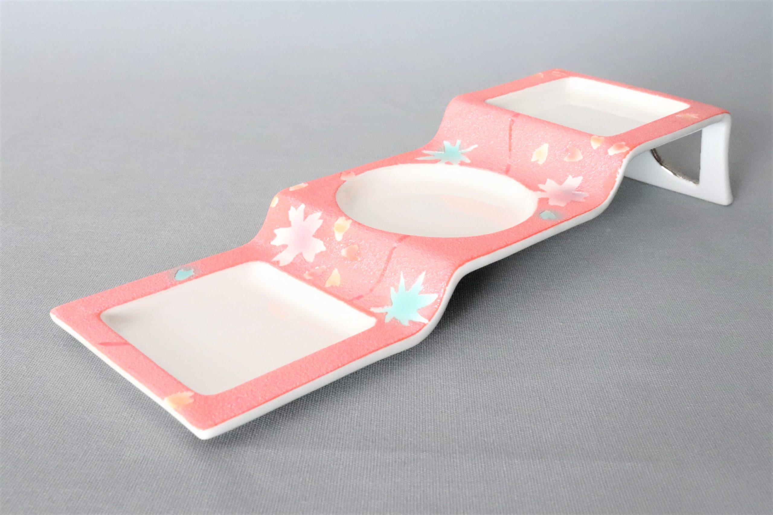 【有田焼】紅和紙春秋三段三品盛
